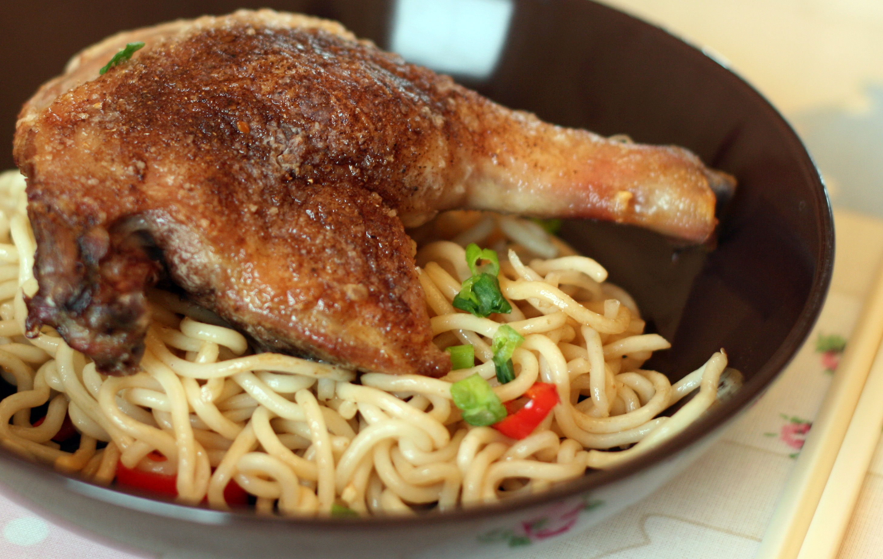 Five Spiced Duck Leg with Chilli Noodles