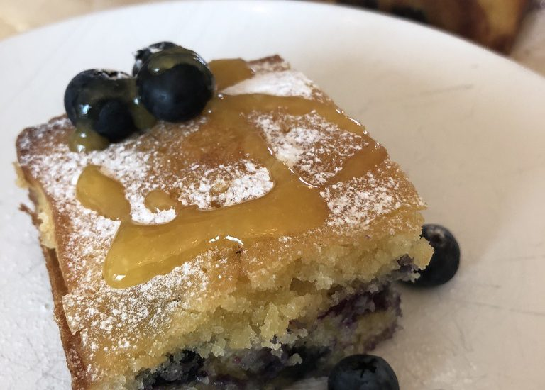 Blueberry Squares with Passion Fruit Syrup